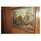 Framed Needlepoint with glass- cottage