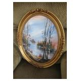 Oval framed painting original signed
