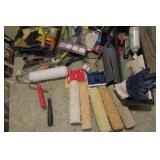 Painters lot: brushes, rollers, scraps, tray,
