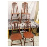 4 / Vintage red wooden chairs