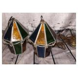 2 stained glass light fixtures