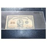 1923 25 cent Canadian Bank note