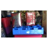 Rc cola crate and 2 cans of Colman camp fuel