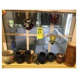 Window Lot, Pottery & Misc., 2 Teague Cups