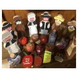 9 Wood Quaker Figures & Teachers Apples