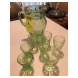 "Water Set, pitcher & 7 ""odd "" Glasses"