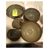 9 pcs. Latham Pottery, Purplish -  Seagrove