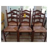 6 Cane Bottom Ladder Back Chairs
