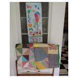 Quilt Rack, 2 Hand Made Quilts,Wall Hanger