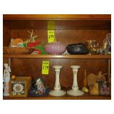 2 Shelves of What-Nots,Lenox Candle Stick Holders