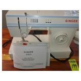 Singer Sewing Machine w/ Notions, Cedar Table