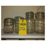 4 Atlas E-Z Seal Fruit Jars