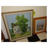 2 Framed Pictures, 1 Oil on Board Picture