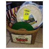 Apple Basket w/ Misc House Hold Items