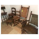 2 Rocking Chairs, 2 Stools, 2 Chairs(rough)