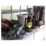 Wood Keg, Gal. Cast Iron Pot, Lantern &  Misc