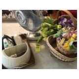 Fan, Iron, Baskets & Flowers