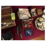 Box  of Watches, Costume Jewelry, Old Stamps