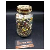 Jar of Misc Beads & Jewelry Pieces