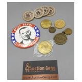 Assortment of Tokens and Wooden Nickels and Ross