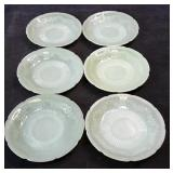Vintage Flower Pattern Jadeite Saucers Lot of 6