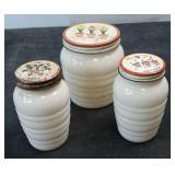 Vintage Milk Glass Salt, Pepper and Grease Jar