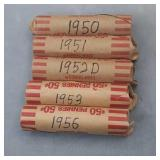 1950,1951,1952D,1953,1956 Wheat Penny Rolls