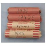 1941,1942s,1944s,1945 Wheat Penny Rolls