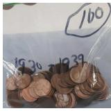 Bag of 100 Wheat Pennies 1930-1939
