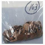 Bag of 163 Wheat Pennies 1940-1950