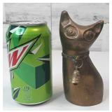 "Brass Cat with Bell on Neck 5"" tall"