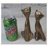 "Pair of Solid Brass Cats 7"" tall"