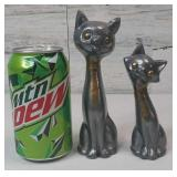 Pair of Silver Cats with Brass Eyes & Tie  6.5""
