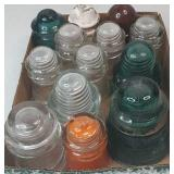 Vintage Flat of Insulators - orange one is painted