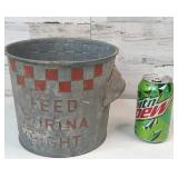 "Vintage Galvanized Purina Feed Bucket 7"" tall and"