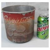 Vintage Metal Carnation Malted Milk Tin with Wood