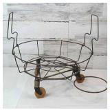 Vintage Wire Planter Holder on Wheels