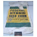 Vintage 1958 Federal Hybrid Seed Corn Bag w Tag