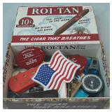 Vintage Cigar Box with Miscellaneous Items