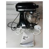 Kitchenaid Black Artisan Mixer w Attachments