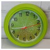 "Lime 9"" Battery Operated Clock Plastic"