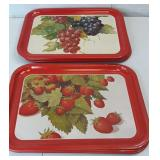 Vintage Serving Trays 3 Strawberries 5 Grape