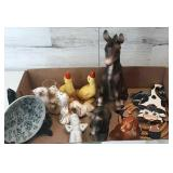 Vintage Flat of Figurines Donkey,Dog,Pair of Ducks