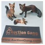 Vintage Miniature Fox Figurine Family