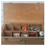 Large Wood Fishing Box with Fishing Line