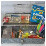 Small Galvanized Tackle Box with Some Lures,