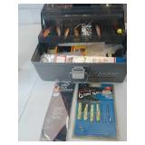 Plastic Gray Lid Locker Tackle Box Full of
