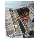 Large red & white  plano tackle box has stuff