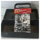 Sears plastic Tackle box with  23 piece 1/4 in