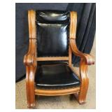 Amazing Vintage Large Leather & Wood Rocker
